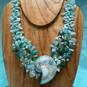 Gorgeous Shell Blue Beaded Necklace
